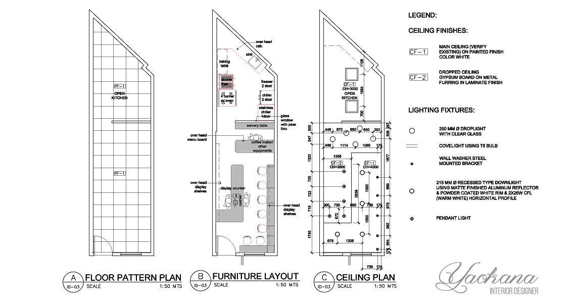 Floor pattern, Reflected ceiling plan and Furniture layout plan